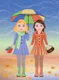 Two little girls and umbrella, autumn card Royalty Free Stock Images