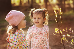 Two little girls on a walk Royalty Free Stock Photography