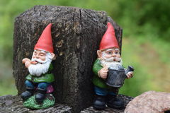 Two little Gnomes playing and working hard. At a post royalty free stock photography