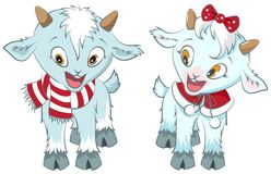 Two little goat. Symbol 2015 year. Vector cartoon illustration Stock Photo