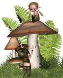 Two little goblins playing on a mushroom Stock Image