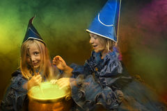 Two little halloween witches Royalty Free Stock Photos