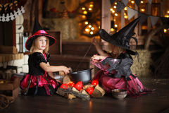 Two little Halloween  witches reading conjure above pot   childh Stock Image