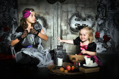Two little halloween witches Royalty Free Stock Photo
