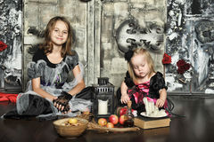 Two little halloween witches Stock Photography