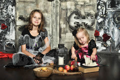 Two little halloween witches Royalty Free Stock Photography