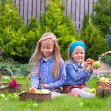 Two little happy girls with great autumn harvest Stock Image