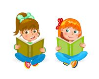 Two little happy girls read books Stock Image