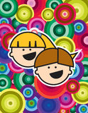 Two little happy kids. On a rainbow circles background Stock Photos