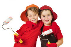Funny painters. Two little house painters. isokated on white Royalty Free Stock Photos