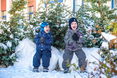 Two little kid boys in colorful clothes playing outdoors during snowfall. Active leisure with children in winter on cold days. Hap Royalty Free Stock Images