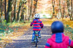 Two little kid boys cycling with bikes in autumn park Stock Photo