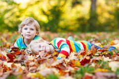 Two little kid boys laying in autumn leaves in colorful clothing. Two little kid boys lying in autumn leaves in colorful clothing. Happy siblings having fun in Royalty Free Stock Images