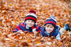 Two little kid boys lying in autumn leaves, in park. Royalty Free Stock Photo