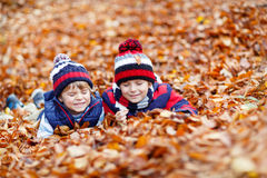 Two little kid boys lying in autumn leaves, in park. Royalty Free Stock Photography