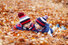 Two little kid boys lying in autumn leaves, in park. Stock Image