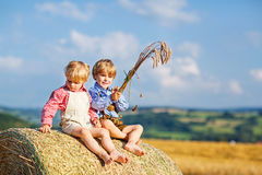Two little kid boys, twins and siblings sitting on warm summer day on hay stack Stock Photos