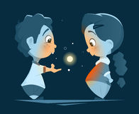 Two little kids boy and girl looking at magic light. Vector character design illustration of two little kids boy and girl looking at magic light Stock Photo