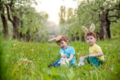Two little kids boys and friends in Easter bunny ears during tra Stock Images