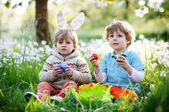 Two little kids boys and friends in Easter bunny ears during traditional egg hunt in spring garden, outdoors. Siblings. Having fun with finding colorful eggs stock image