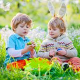 Cute adorable little kid boy making an egg hunt on Easter. Happy child searching and finding colorful eggs in domestic. Two little kids boys and friends in stock photo