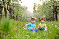 Two little kids boys and friends in Easter bunny ears during traditional egg hunt in spring garden, outdoors. Siblings having fun Royalty Free Stock Images