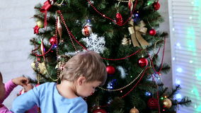Two little kids brother and sister decorating Christmas tree at daytime stock video