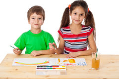 Two little kids drawing together Royalty Free Stock Photo