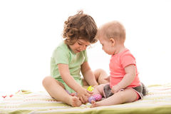 Two little kids with Easter eggs Stock Photography