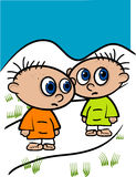 Two Little Kids Illustration Royalty Free Stock Photography