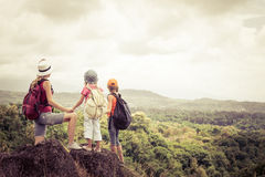 Two little kids and mother in the mountains Stock Photography