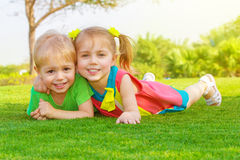 Two little kids in park Royalty Free Stock Images