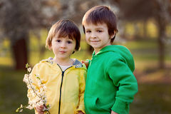 Two little kids in the park, having fun Stock Photography