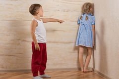 Two Little Kids Playing at Home Royalty Free Stock Photo