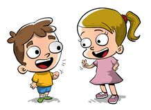 Free Two Little Kids Talking And Counting Fingers Stock Images - 180131114