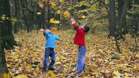 Two little kids throwing up the autumn leaves stock footage