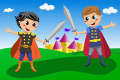 Two Little Knights in a Duel. Illustration featuring two cute little knights or princes with cloak and a sword involved in a duel with castle in background. Eps Royalty Free Stock Photography