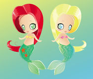 Two little mermaids Royalty Free Stock Images