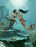 Two Little Mermaids, 3d CG vector illustration