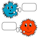 Two little monsters. With postcards Royalty Free Stock Photography