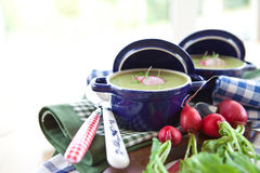 Two little pots with green soup and beets Royalty Free Stock Photos
