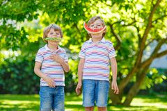 Two little preschool kid boys eating watermelon in summer royalty free stock photography