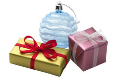 Two little present boxes and decoration ball Royalty Free Stock Photo