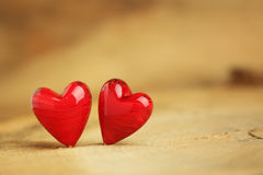 Two little red hearts Royalty Free Stock Images