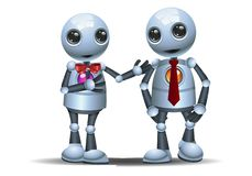 Two little robot walk as a business partner. Illustration of a happy two little robot walk as a business partner on isolated white background stock illustration
