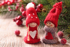 Two little santa decoration royalty free stock images