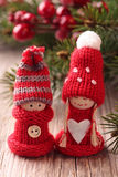 Two little santa decoration Stock Images