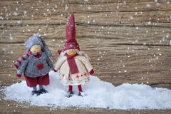 Two little santa decoration Stock Photo