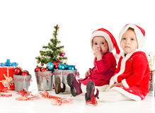 Two little Santa Stock Photography
