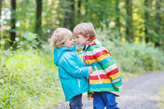 Two little sibling boys in colorful raincoats and Royalty Free Stock Photo